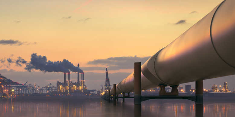 Pipeline in industrial district